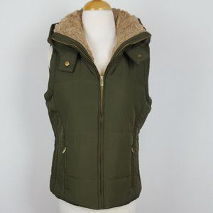 Jackets & Blazers - Women's Winter Vest with Attached Hoodie  Green